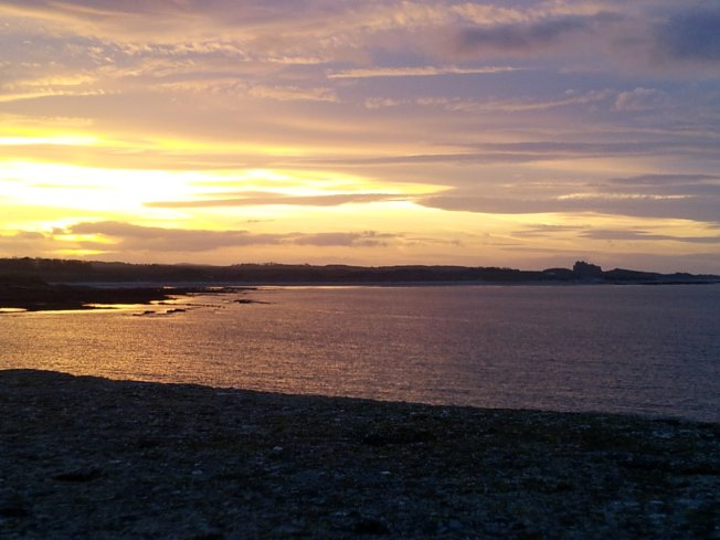 The bay looking north from Seahouses towards Bamburgh