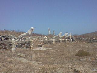 Statues at Delos, Cyclades, Greece