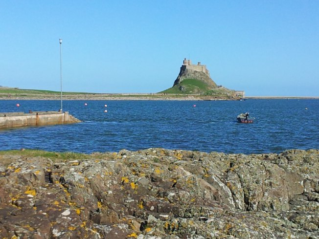 Lindisfarne Bay with the much later fortified house